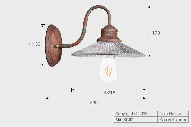 Thông số chi tiết lắp đặt đèn vách tường phong cách rustic KC02