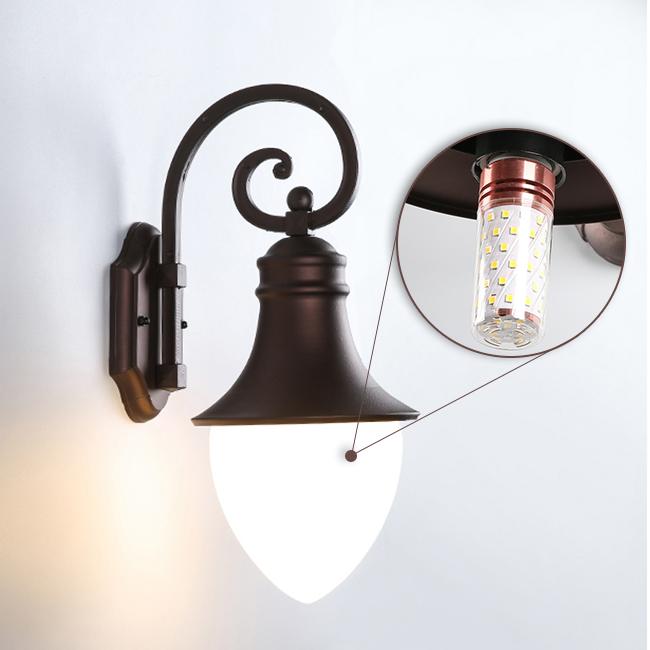 Khung đèn bằng nhơm, chụp đèn bằng thủy tinh với bóng đèn 11W