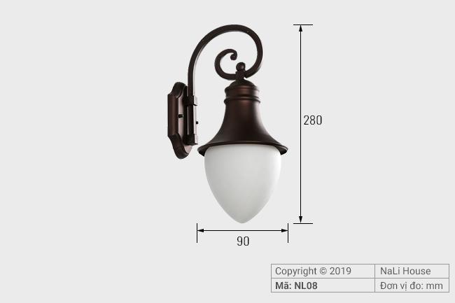 Thông số chi tiết lắp đặt đèn hắt trang trí ngoài trời NL08