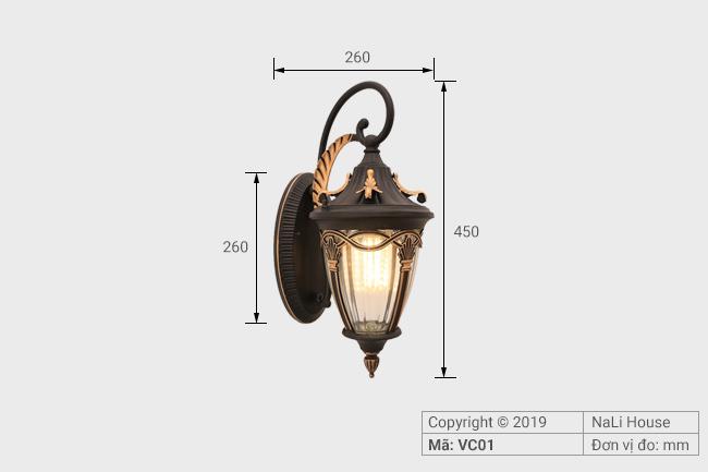 Kích thước nhỏ gọn, dễ lắp đặt của đèn hắt tường ngoài nhà VC01
