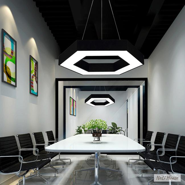 Đèn LED lục giác thả trần 48W sáng trắng, phong cách hiện đại