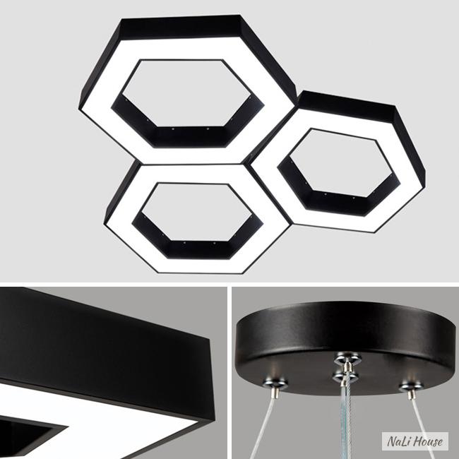 Khung và bát treo của đèn lục giác trang trí bằng kim loại chắc chắn, kết hợp chụp nhựa PMMA dẫn sáng cực tốt