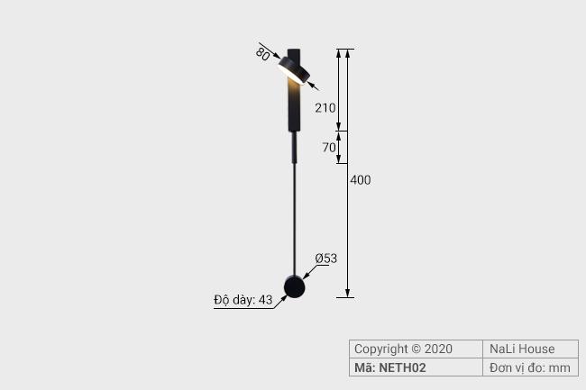 Thông số kỹ thuật lắp đặt của đèn ngủ gắn đầu giường NETH02