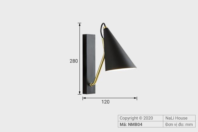 Thông số kích thước chiếc đèn rọi đọc sách đầu giường NMB04