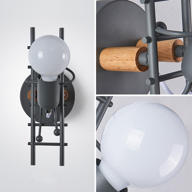 Đèn phòng ngủ cạnh giường bằng sắt và gỗ tự nhiên, an toàn sức khỏe
