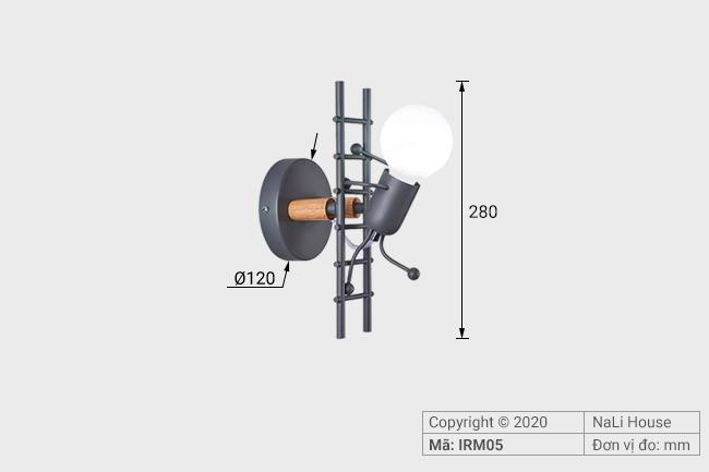 Đèn phòng ngủ cạnh giường IRM05 có kích thước chiều cao khoảng 280mm