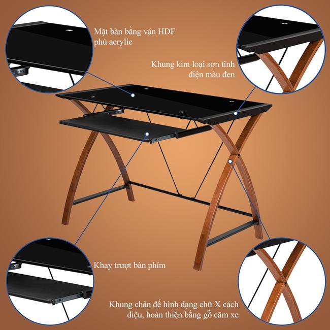 Mặt bàn bằng gỗ HDF phủ acrylic, chân đế bằng gỗ căm xe kết hợp các thanh sắt tạo thành bộ khung vững chắc