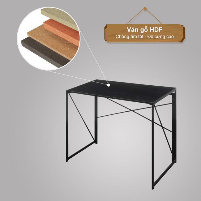Chất liệu bằng ván gỗ HDF và sắt vuông cứng chắc của bàn làm việc gấp gọn EMB-6