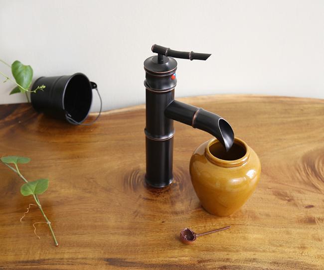 Vòi nước đồng thau kiểu ống tre phong cách mộc mạc - tự nhiên