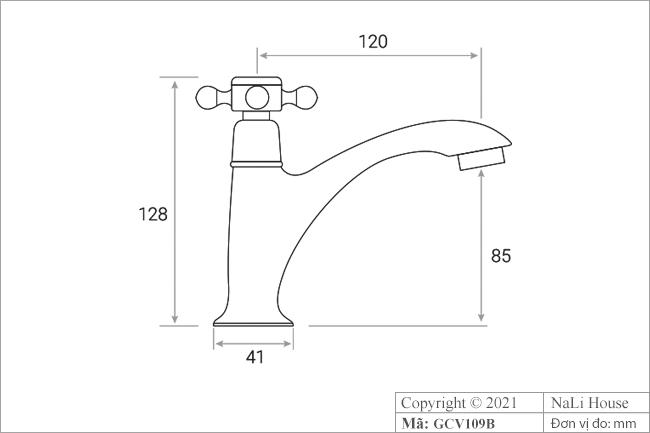 Thông số chi tiết kích thước chiếc vòi nước thân thấp GCV109B