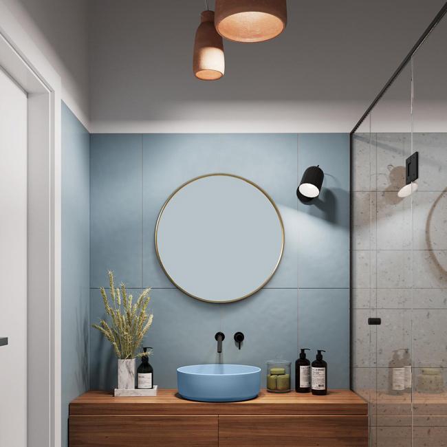 Gương tròn treo nhà tắm bằng đồng mang phong cách mỹ thuật độc đáo