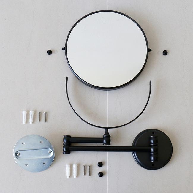 Gương tròn trang điểm treo tường GCK18B có thể kéo dài ra hoặc gấp gọn, xếp sát tường rất gọn gàng