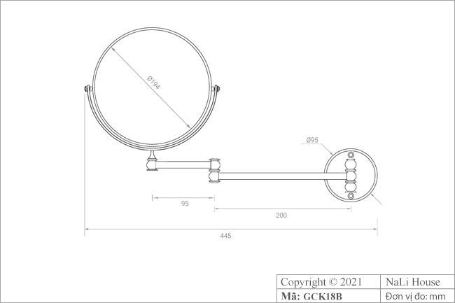 Thông số kích thước của chiếc gương tròn trang điểm treo tường GCK18B