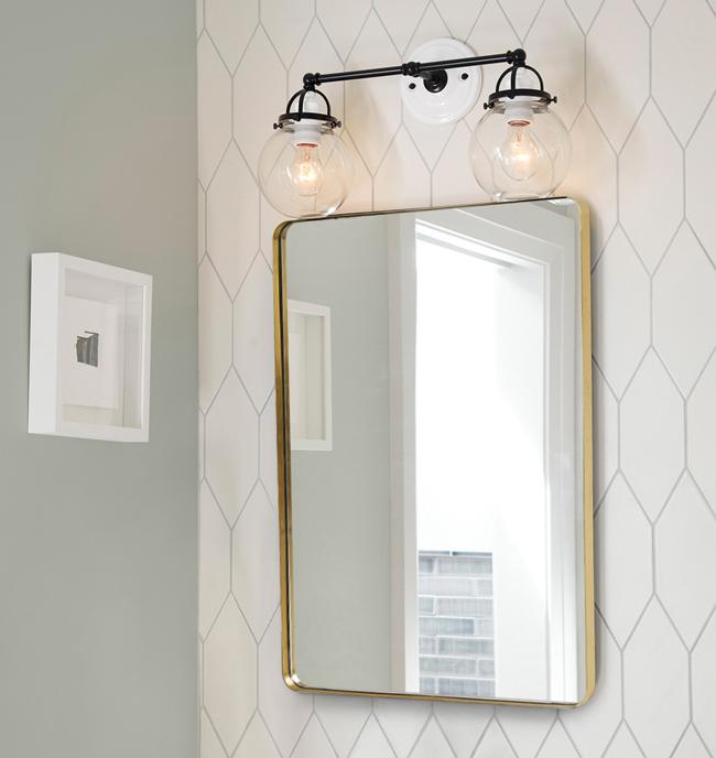Gương treo tường hình chữ nhật có khung bằng đồng thau độc đáo