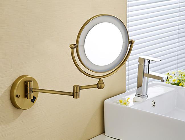 Gương tròn treo tường có đèn led tiện lợi, xoay lật 360 độ thông minh