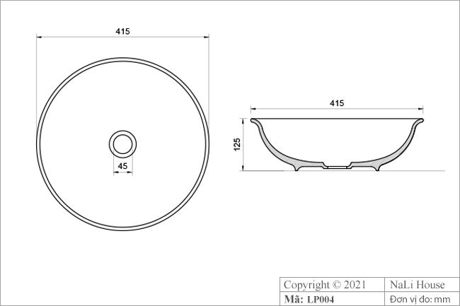 Thông số kích thước bồn rửa tay bằng sứ LP004