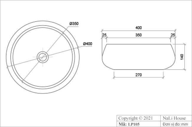 Thông số kích thước lavabo gốm sứ LP105