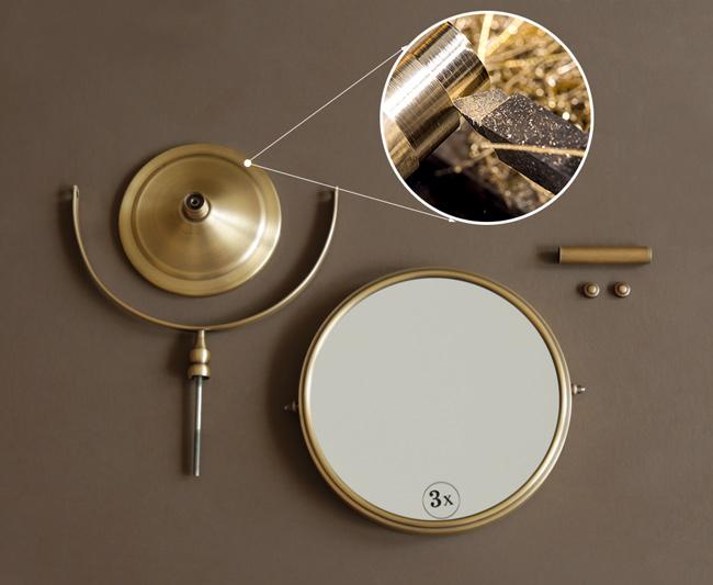 Gương tròn để bàn trang điểm có chất liệu bằng đồng thau mỹ thuật độc đáo