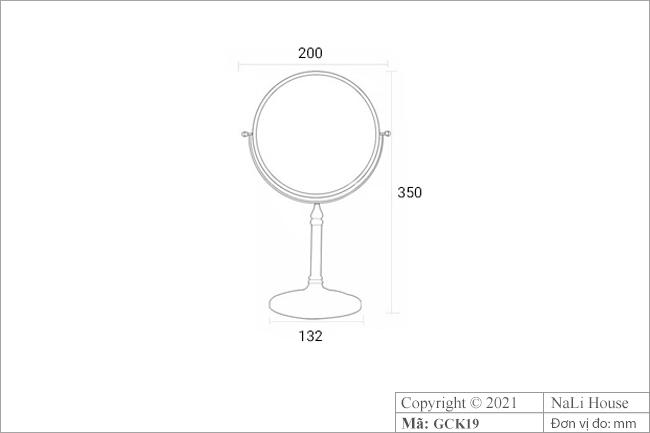 Thông số kích thước của gương soi mặt để bàn GCK19
