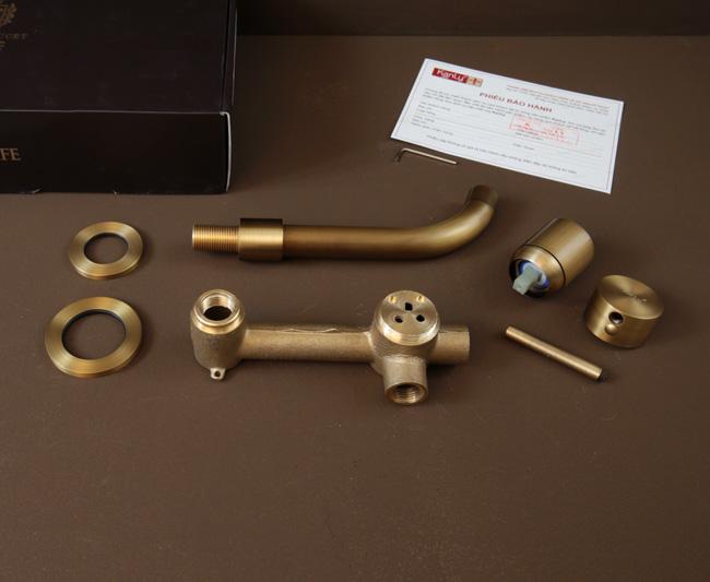 Chất liệu bằng đồng thau đúc nóng chảy của vòi nước nóng lạnh gắn tường BLF04