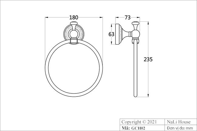 Thông số kích thước vòng treo khăn tắm cổ điển GCH02