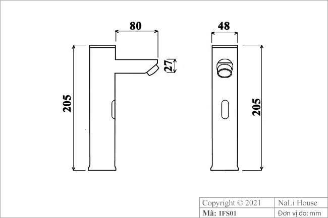 Bản vẽ thông số kích thước của vòi nước rửa tay cảm ứng IFS01