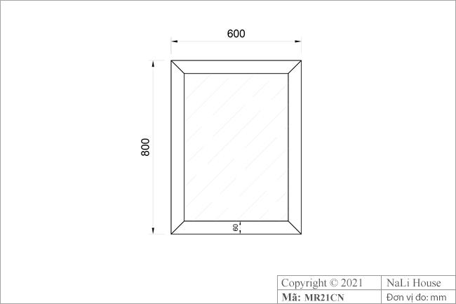 Bản vẽ kích thước gương treo tường khung gỗ MR21CN
