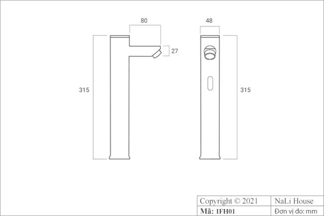 Bản vẽ kích thước vòi cảm ứng lavabo IFH01