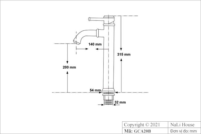 Bản vẽ kích thước vòi rửa mặt nóng lạnh GCA20B