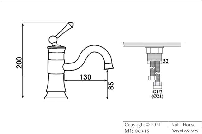 Bản vẽ kích thước vòi rửa tay nóng lạnh GCV16