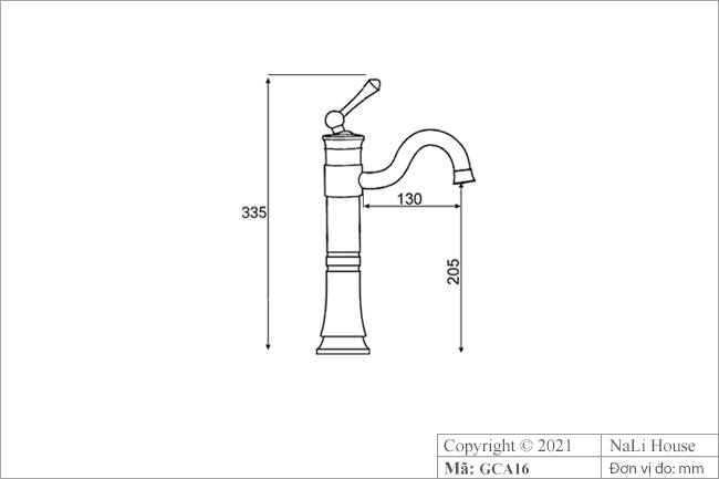Bản vẽ kích thước vòi rửa mặt lavabo GCA16