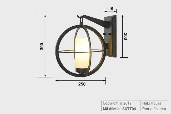 Kích thước đèn gắn tường ngoài trời có chiều dài 300mm và chiều rộng 250mm