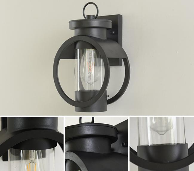 Khung đèn bằng kim loại bền nhẹ và chụp đèn bằng thủy tinh trong suốt