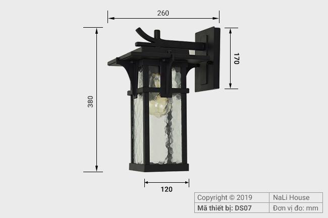 Kích thước chiếc đèn gắn tường ngoài trời DS07