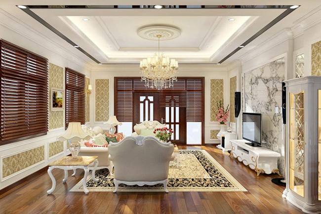 Đèn chùm trang trí phòng khách sang trọng, phong cách hoàng gia