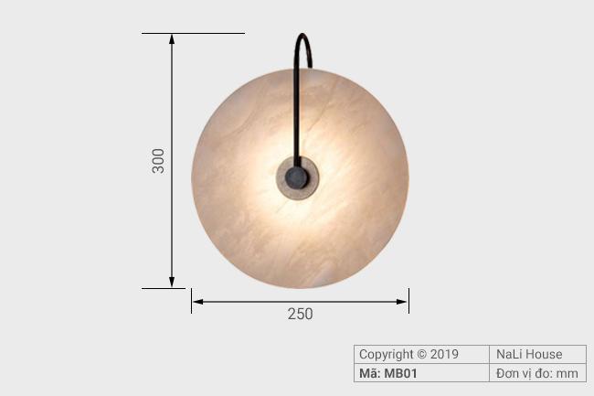 Kích thước đèn treo tường trang trí phòng khách MB01