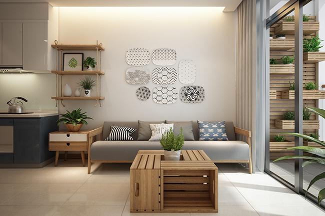Trang trí nội thất phòng khách bằng gỗ