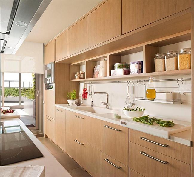 Bố trí đồ gỗ nội thất gia đình cho phòng bếp