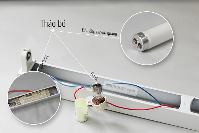 Tháo bỏ đèn ống huỳnh quang, tắc-te và tăng phô