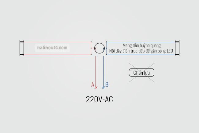 Sơ đồ đấu dây điện máng đèn huỳnh quang để gắn bóng đèn tuýp led